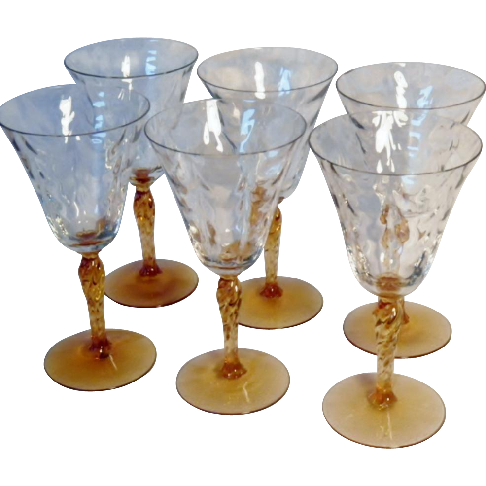 Set of Six Fostoria Elegant Depression Glass Wine or Water Glasses