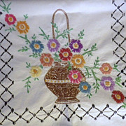 Vintage Hand Embroidered Summer Basket Floral Linen Runner