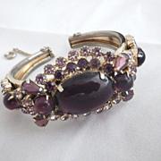 Vintage Gold Tone & Amethyst Purple Cuff Bracelet