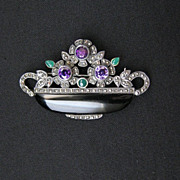 Vintage Signed Sterling Silver, Onyx, Amethyst, Chrysoprase and Marcasite Brooch