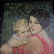 Vintage Framed Earl Christy Mother and Child Print