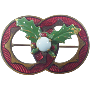 Victorian Opaline and Enamel Holly Brooch