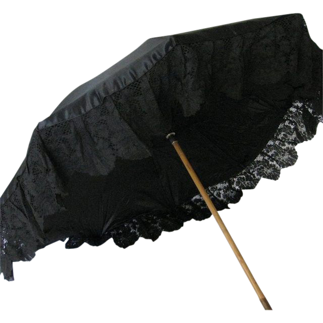 Antique Black Silk & Lace Parasol
