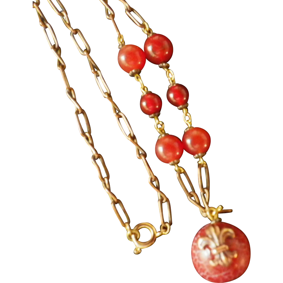 Vintage Carnelian & Copper Pendant Necklace