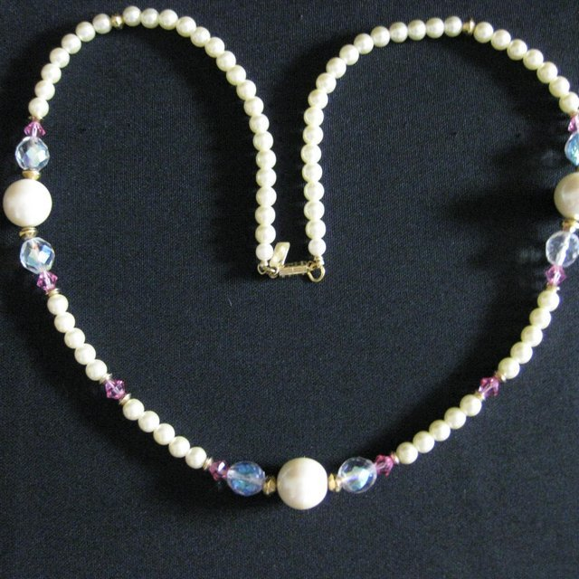 Vintage Signed 1928 Glass Pearl & Crystal Necklace