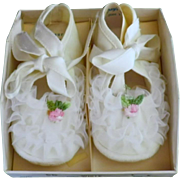 Vintage Pair of Mrs. Days Crib Shoes for Baby or Doll