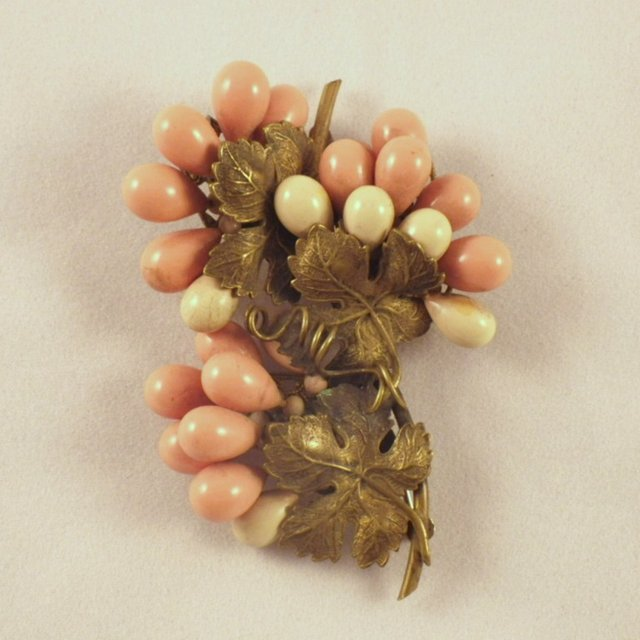 Vintage Early Unsigned Miriam Haskell Grape Cluster Brooch