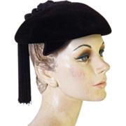 Vintage Women's Dark Brown Velvet Hat Made in France