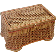 Vintage Woven Wicker and Cord Sewing Basket
