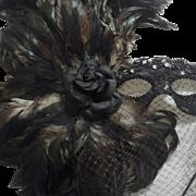 Vintage Black Feather Mask