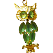 Vintage Gold Plate & Rhinestone Owl Dangle Pendant Necklace