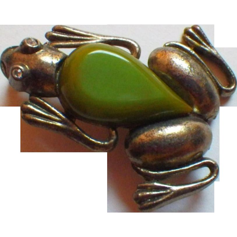 Rare Vintage Silver Metal & Bakelite Frog Brooch