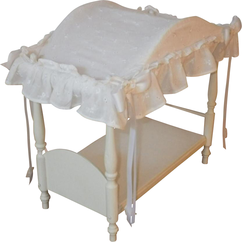 Vintage Canopy Doll Bed with Linens
