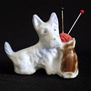 Vintage Bone China Figural Scottie Dog Pin Cushion