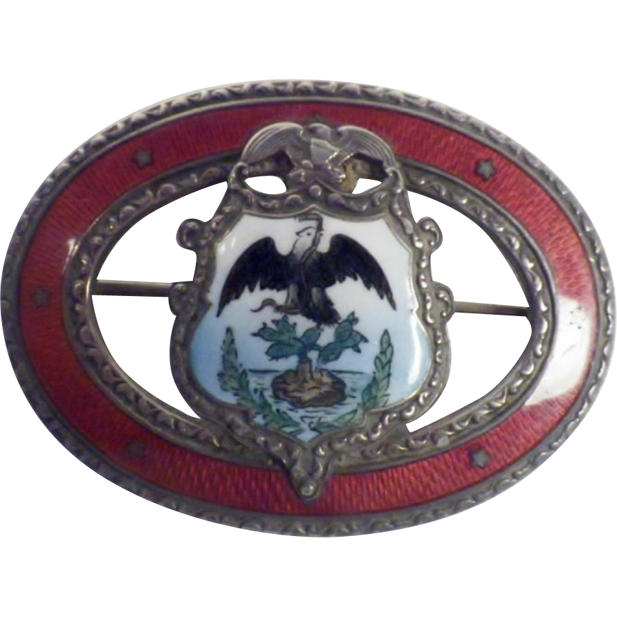 Vintage Watson Company Sterling Silver and Enamel Mexico Coat of Arms Brooch