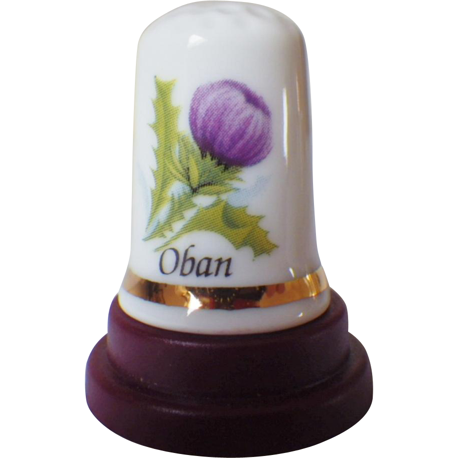 Vintage Bone China Thimble - Souvenir of Oban Scotland