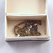 Tiny Vintage Doll Glass Bead Rosary in Original Box