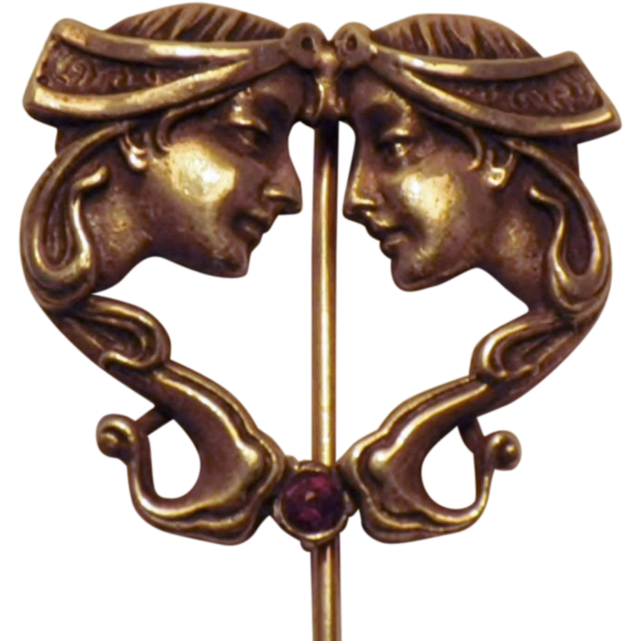 Vintage Art Nouveau Sterling Silver Stick Pin