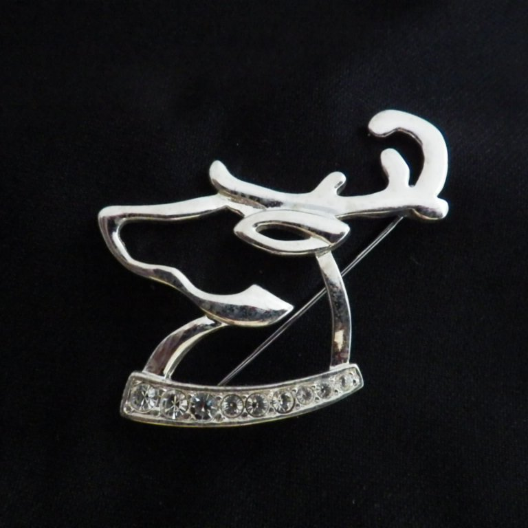 Scarce Vintage Signed Napier Silverplate Reindeer Brooch