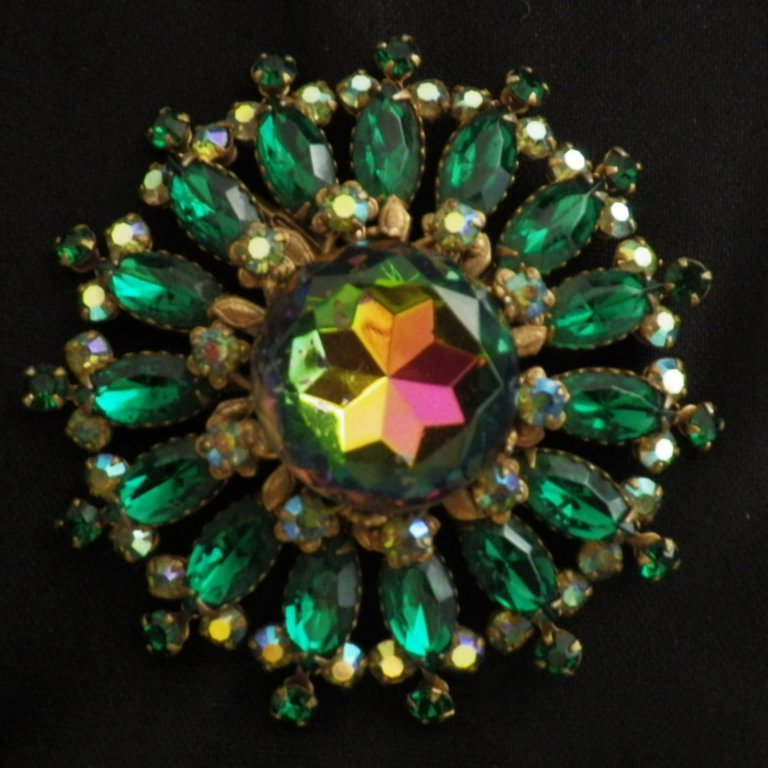 Vintage Green Watermelon Rhinestone Brooch