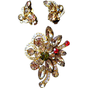 Vintage Signed Eisenberg Ice Demi-Parure - Brooch & Earrings