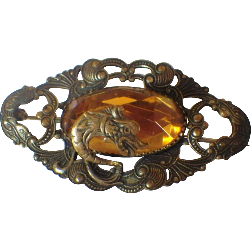 Vintage Amber Glass & Brass Dragon Head Brooch