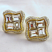 Vintage Signed Swarovski Crystal Earrings