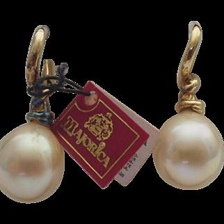 Vintage Set of Majorica Pearl Earrings in Original Box