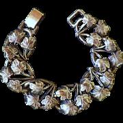 Vintage Signed Bartek Mid Century Silver Maple Leaf Bracelet