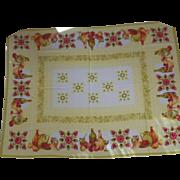 Vintage Autumn Motif Linen Rectangular Tablecloth