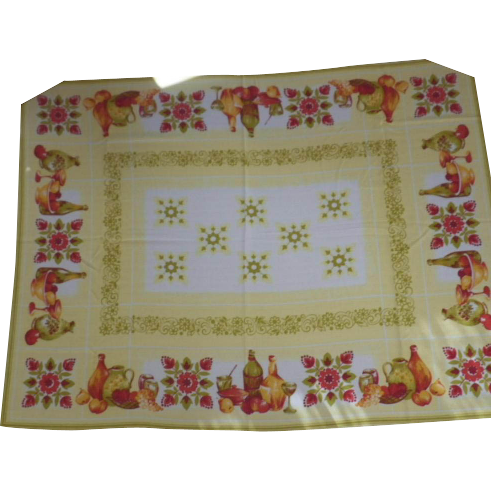 Vintage Autumn Motif Linen Rectangular Tablecloth