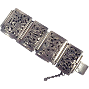 Vintage Signed Indochina Sterlling Silver Panel Bracelet