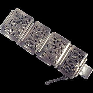 Vintage Signed Indochina Sterlling Silver Panel Bracelet