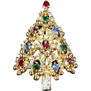 Vintage Signed Eisenberg Christmas Tree Brooch