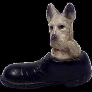 Vintage Signed Dog in Shoe Figurine
