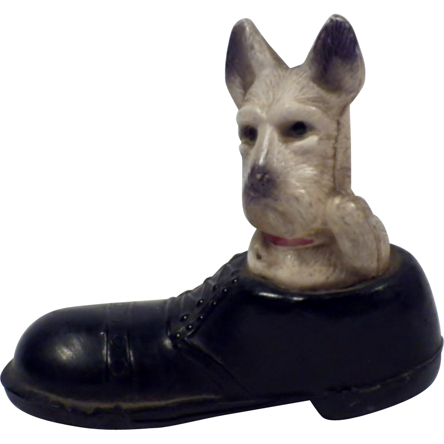 Vintage Signed Dog in Shoe Figurine