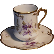 Vintage Limoges Hand Painted Chocolate Cup & Saucer Set