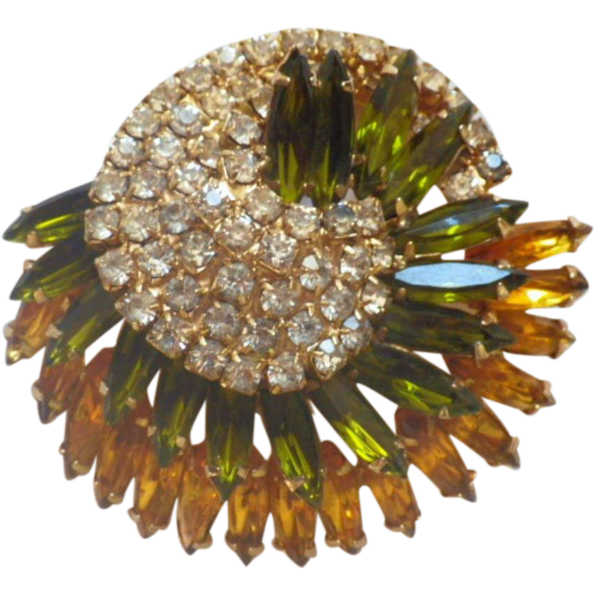 Vintage Large Layered Three-Color Rhinestone Brooch