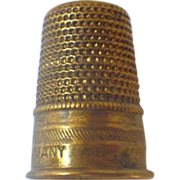 Vintage Signed Brass Sewing Thimble