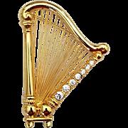 Vintage Signed Monet Harp Brooch