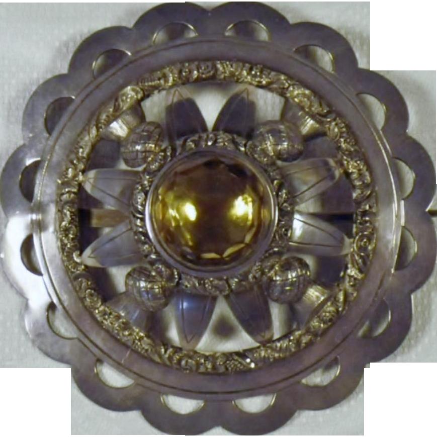 Huge Antique Sterling Silver & Cairngorm Scottish Brooch
