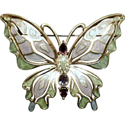 Large Vintage Signed Enamel & Rhinestone Butterfly Brooch