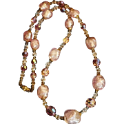 Vintage Venetian Foil Glass, Crystal & Seed Bead Necklace