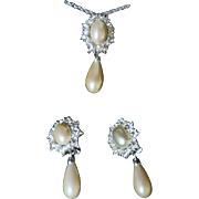 Vintage Signed Christian Dior Glass Pearl & Rhinestone Demi Parure