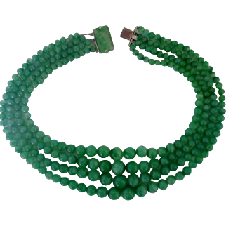Vintage Faux Jade Glass Bead Four Strand Necklace