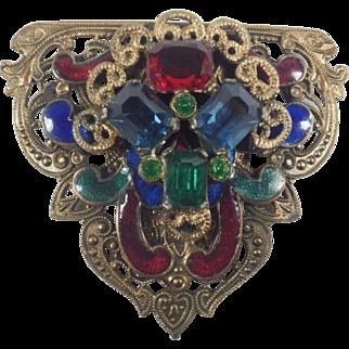 Vintage Guilloche Enamel and Rhinestone Clip