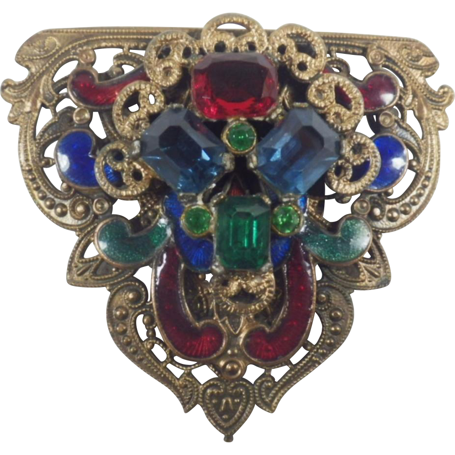 Used Jewelry San Diego Of Vintage Guilloche Enamel And Rhinestone Clip Or Pendant