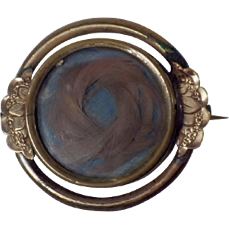 Antique Gold Plate Mourning Hair Brooch
