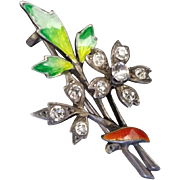 Unusual Antique 935 Silver and Guilloche Enamel Pin