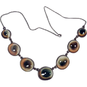 Antique Victorian Sterling Silver and Operculum Necklace